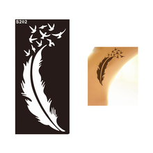 1 Sheet Lady Style Feather Bird Waterproof Tatoo Henna Stencil Temporary Sexy Women Body Leg Hand Art Tattoo Sticker Design S202