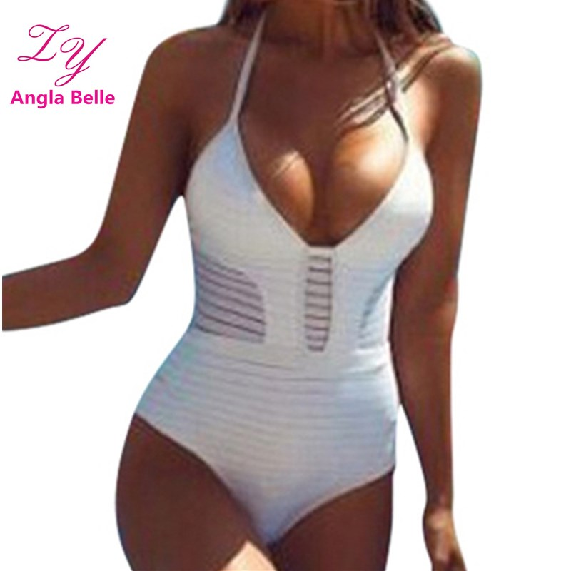 Sexy One Piece Large Size Swimwear Women Swimsuit Hollow Monokini Halter Bathing Suit Bodysuit Push Up maillot de bain 2415 aboutthefit slim sexy swimwear women push up one piece swimsuit monokini maillot de bain femme vintage bodysuit bathing suit