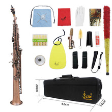 High Quality LADE WSS-899 Professional Red Bronze Straight Bb Soprano Saxophone Woodwing Instrument