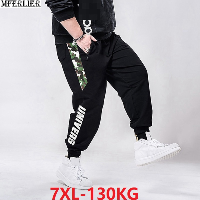 Summer Men Sports Sweatpants Camouflage Plus Size Big 6XL 7XL 8XL Spring Man Casual Letter Pants Stretch High Waist Pants Loose