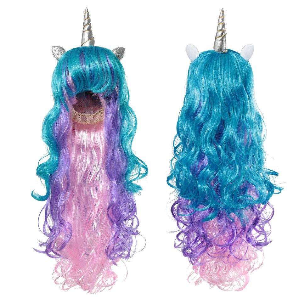 Ponytail Unicorn Headbands Glitter Ears Kids Girls Princess Braid Wig Hairbands
