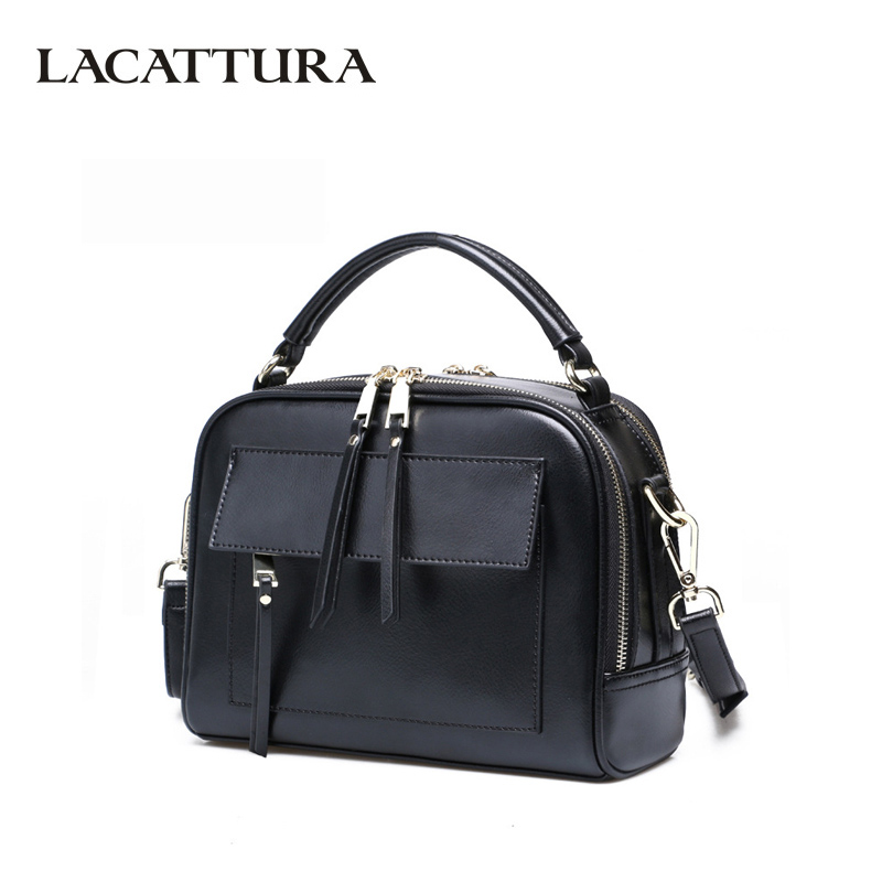 LACATTURA Women Luxury Messenger Bag Designer Handbag Split Leather Shoulder Bag Brand Totes Crossbody for Lady Double Zipper lacattura small bag women messenger bags split leather handbag lady tassels chain shoulder bag crossbody for girls summer colors