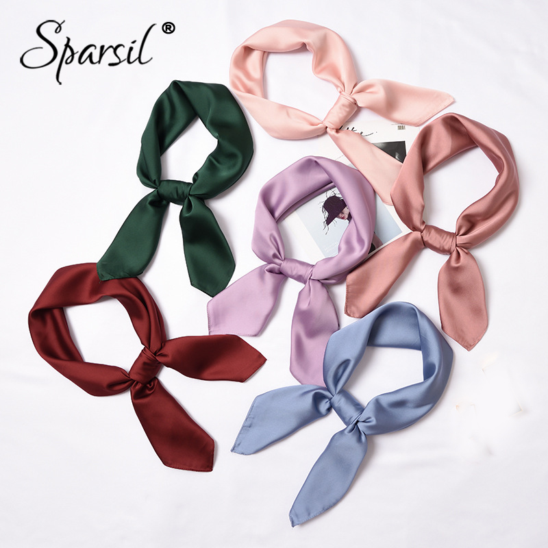Sparsil 2019 New Women Fake Silk Square   Scarf   Solid Color Small   Scarves   Soft   Wraps   Neckerchief Fashion Headband Ring Scarf70*70