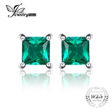JewelryPalace Square 0.6ct Created Emerald 925 Sterling Silver Stud Earrings For Women Fashion Fine Jewelry