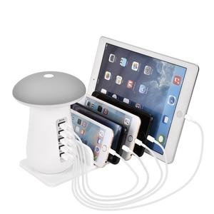 Image 1 - 1 Máy Tính Đa Dock Sạc 5 Cổng USB QC3.0 Đế Sạc Với Ánh Sáng Hình Nấm Dock Sạc Nhanh Hub EU Hoa Kỳ âu Anh