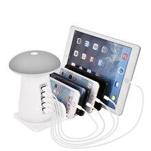 1pc Multi stacja do ładowania 5 Port USB QC3.0 stacja ładowania z lampa grzybek stacja do szybkiego ładowania stacja do ładowania Hub ue US AU UK
