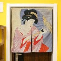Japanese Style Creative Partition Cotton Curtain Cloth Japanese Maid Koi Carp Door Hanging Curtain