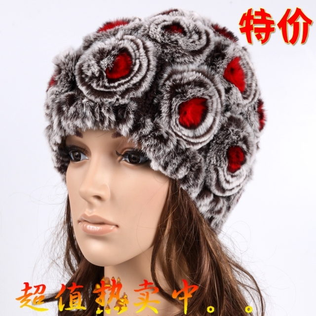 Free shipping 2017 winter rex rabbit hair fur hat fashion thermal wool rabbit fur leather flower hat