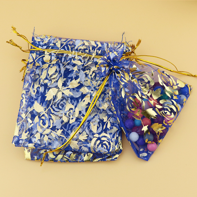 500pcs Royal Blue Organza Bag 7x9cm Gold Rose Print Christmas Gift Bags Jewelry Packaging Wedding
