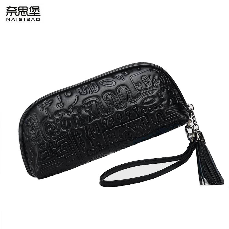 NAISIBAO 2019 new women Genuine Leather bag top cowhide Embossed Flower bag famous brand  fashion genuine leather clutch bagsNAISIBAO 2019 new women Genuine Leather bag top cowhide Embossed Flower bag famous brand  fashion genuine leather clutch bags