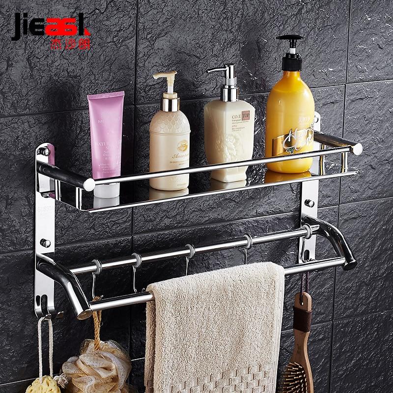 304 stainless <font><b>steel</b></font> Single Tier Bathroom Shelf /<font><b>Towel</b></font> Rack Shampoo Holder Wall Bathroom Shelves Storage Rack Toothbrush Holder