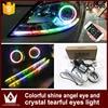 Tcart automobiles LED Crystal Daylight tear new led car styling RGB Flash LED Angel Eyes ring with Bluetooth phone APP control