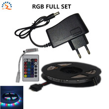 5m RGB Full Set Led Strip 2835SMD Fiexble Light Led Ribbon Tape LED Tape IR Remote Controller 12V 2A Power  Home Decoration Lamp