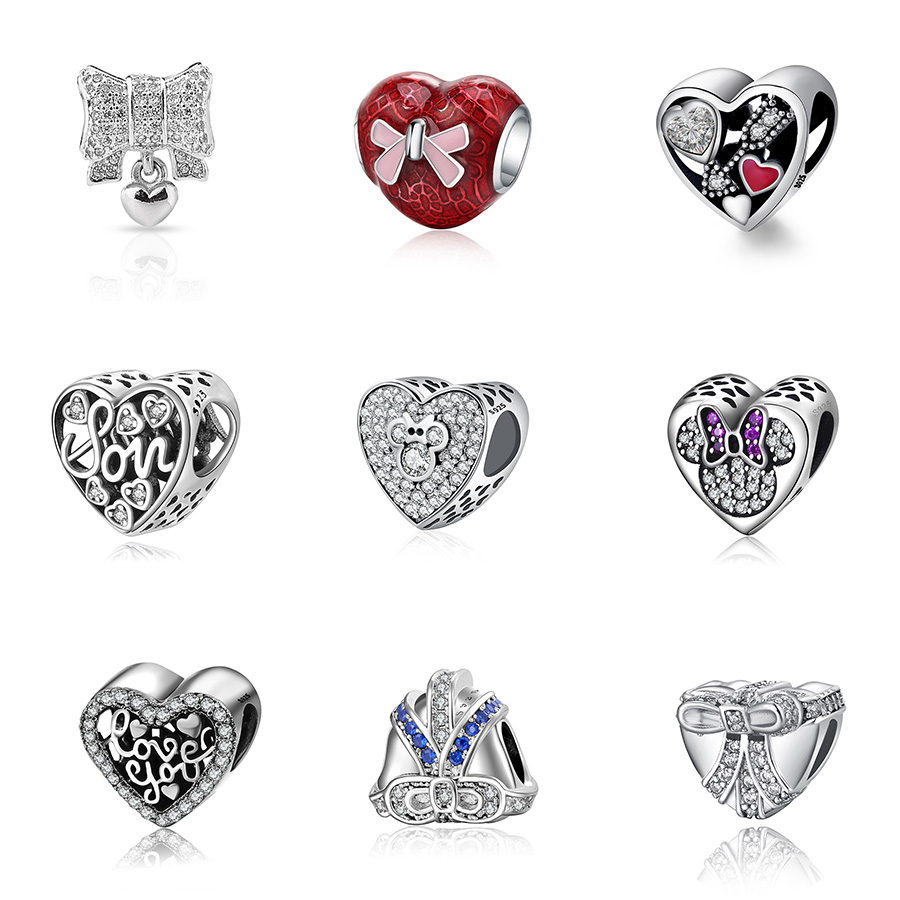 925 Silver Beads Charms Fall in love at first sight Love You Cute Mouse Heart Beads For Women Original Pandora Bracelets Charms