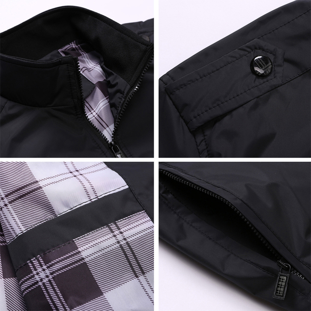 Mens Sportswear Slim Jacket Casual Coats Solid Color Stand Collar 36