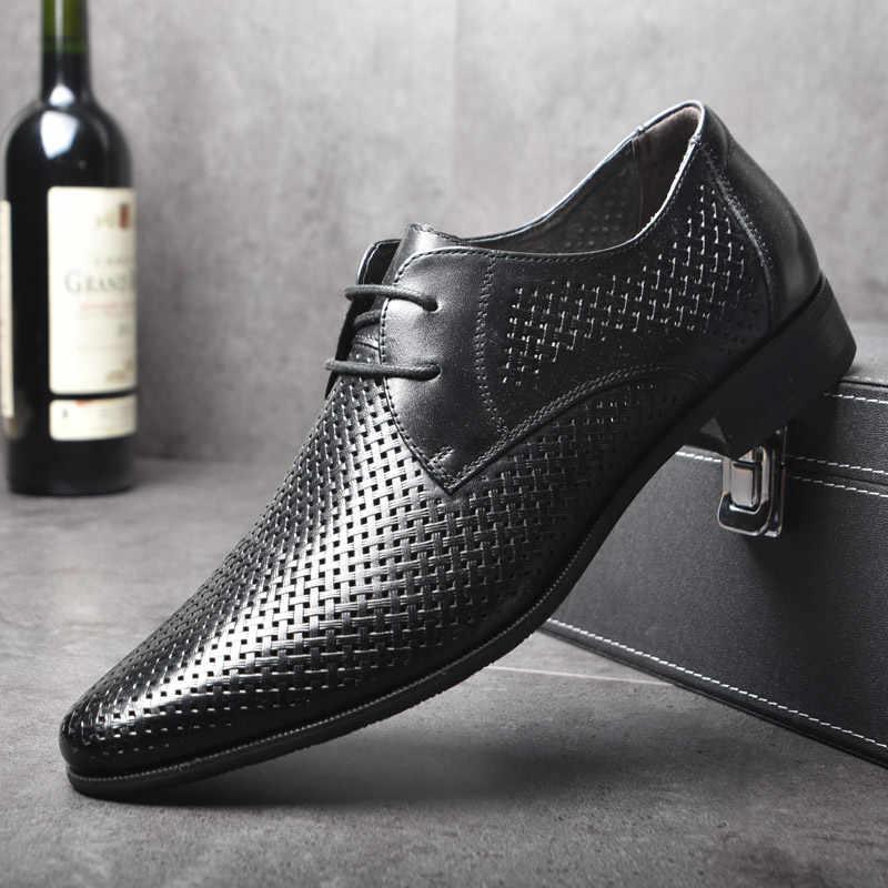 OSCO hombres zapatos Primavera Verano Formal cuero genuino negocios Casual zapatos hombres vestido Oficina zapatos de lujo hombre transpirable Oxfords