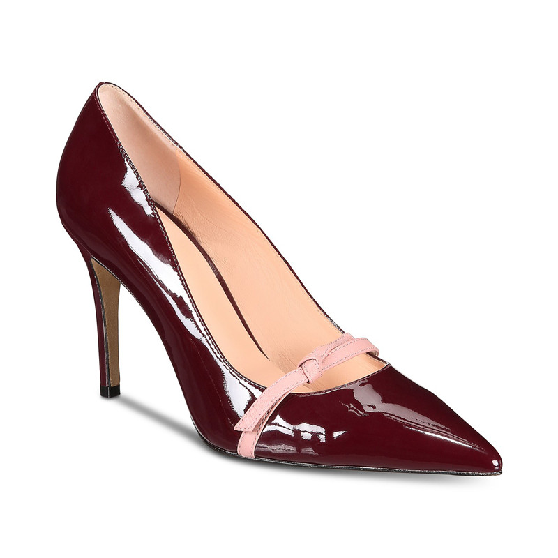 reasonable price 100% top quality arriving US $56.42 18% OFF Women Spring 2019 Burgundy Patent Leather Pumps Stiletto  High Heels Shoes Designers Wine Red Pointed Toe Dress Shoes Woman Black-in  ...