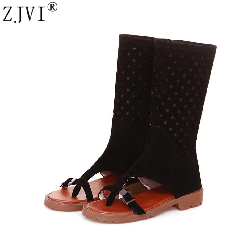 где купить ZJVI woman fashion suede summer mid calf boots 2018 women cut outs boots womens flat low heels shoes ladies open toe sandals по лучшей цене