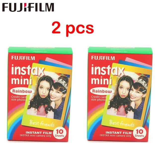2 pièces original Fujifilm Instax Mini Film de dessin animé instantané arc en ciel 2 paquets pour polaroid Mini 11 9 7 7s 8 25 50s 90