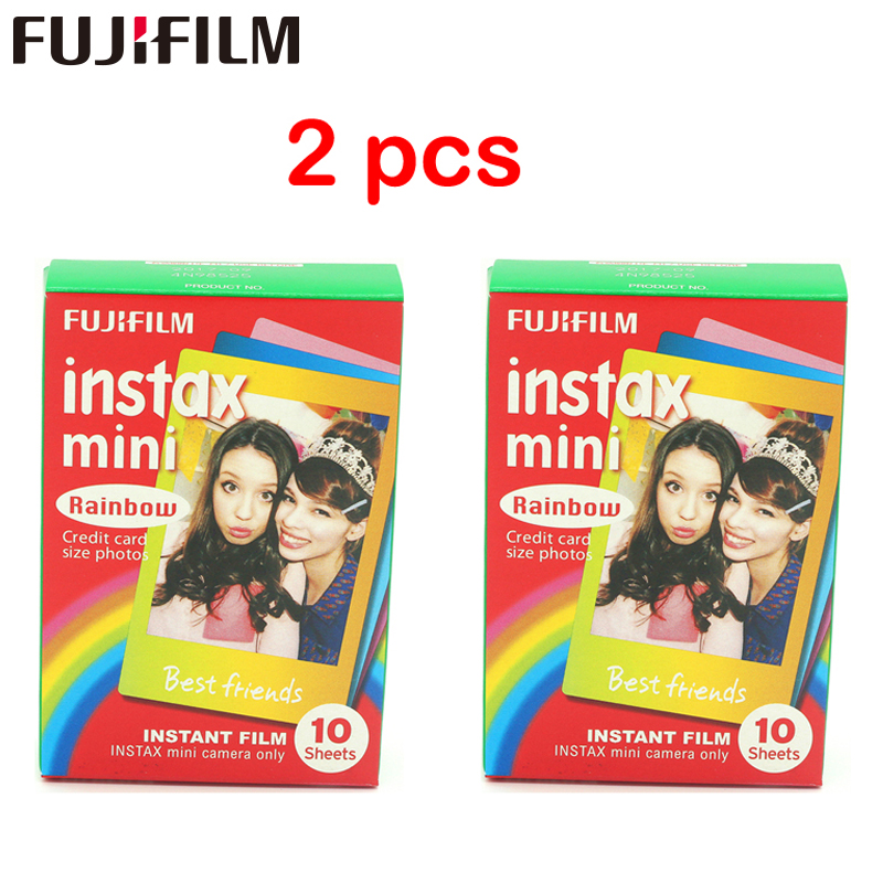 2pcs Origininal Fujifilm Instax Mini Instant Cartoon Film Rainbow 2 პაკეტები polaroid Mini 7s 8 25 50s 90