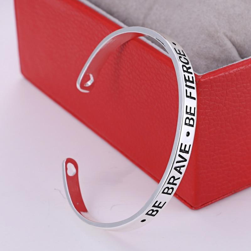 women best friends gifts bracelets Bangles Fashion engraved BE BRAVE BE FIERCE Open Cuff alloy Bracelet Bangle Jewelry