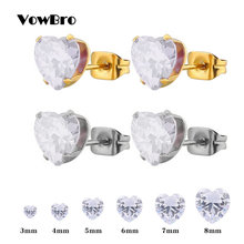 VowBro 1pairst Crystal Stud Earrings for Women Stainless Steel Heart Crystal Earring Children Earrings boucle d'oreille