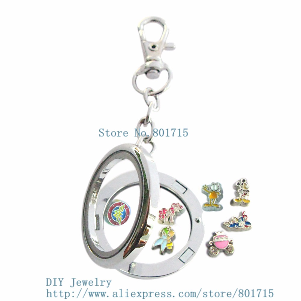 45a2acba672fc6 30mm round copy stainless steel Magnetic floating locket Keychain zinc  alloy glass floating locket with 10 free random charms