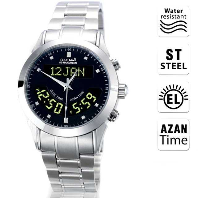 Muslim Azan Watch 6102 WA 10 32mm Stainless Steel Automatic Mosque Prayer Clock for All Muslim friend