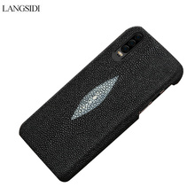 Genuine Leather Pearl fish  Half pack protective case for HUAWEI P30 Anti-fall phone Solid color personality cover