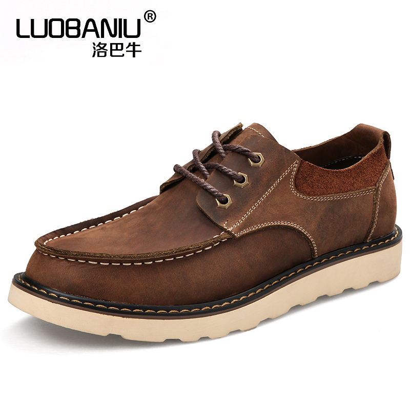 Retro Mens Genuine Leather Round Toe Lace Up Oxfords Casual Working Boots Chukkas Men Shoes front lace up casual ankle boots autumn vintage brown new booties flat genuine leather suede shoes round toe fall female fashion