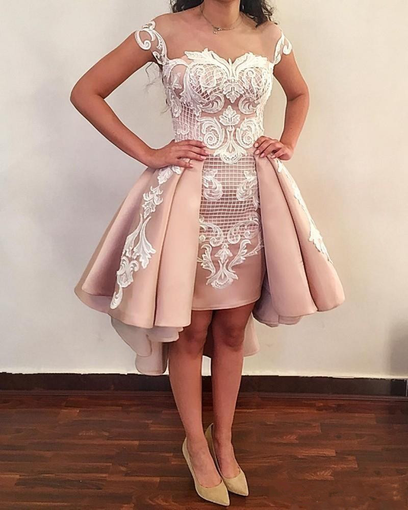 See Through 2019   Cocktail     Dresses   A-line Cap Sleeves Satin Lace Short Mini Elegant Party Homecoming   Dresses