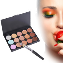 Natural 15 Colors Face Cream Concealer Contour Flawless Makeup Base Palette with Foundation Brush Facial Cream Care Camouflage