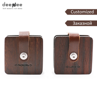 DEEPDEE Customized Earphone Cable Winder Wrapped Leather Wood Headphone Wrap Earbuds Cord Clips Holder Cable Storage Gift Box