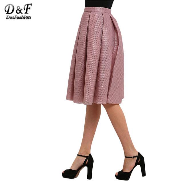 Dotfashion Señoras Del Verano/Primavera Estilo Rosa de Cintura Alta Faldas Plisadas Llamarada Casual Nueva Llegada 2016 Falda de Las Mujeres
