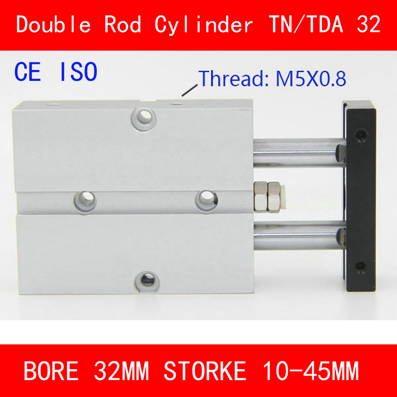 CE ISO TN32 TDA Twin Spindle Air Cylinder Bore 32mm Stroke 10-45mm Dual Action Air Pneumatic Cylinders Double Action Pneumatic tn25 tda twin spindle air cylinder bore 25mm stroke 10 45mm dual action air pneumatic cylinders double action pneumatic parts
