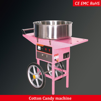 commercial stainless steel electric cotton candy floss machine with cart