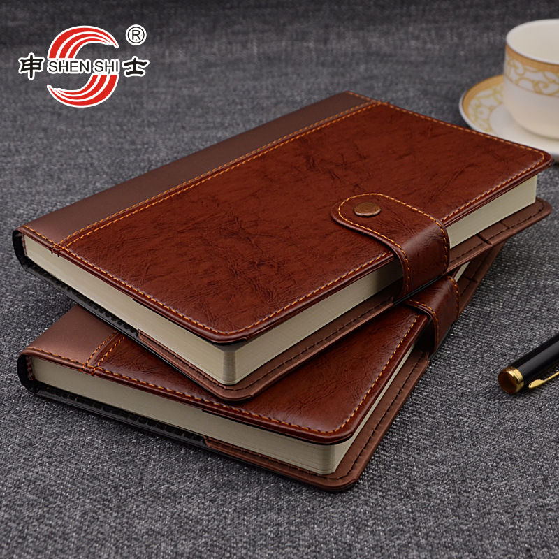 A5/B5 buckle leather notebook business office stationery custom-made diarybook custom 1 pcs 2018 a5 retro buckle loose the high grade leather notebook business notebook diary custom stationery