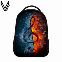 VEEVANV 3D Musical Notation Printing Backpacks School Bags For Teenagers Daily Backpack Children Bookbag Shoulder Backpacks Gift
