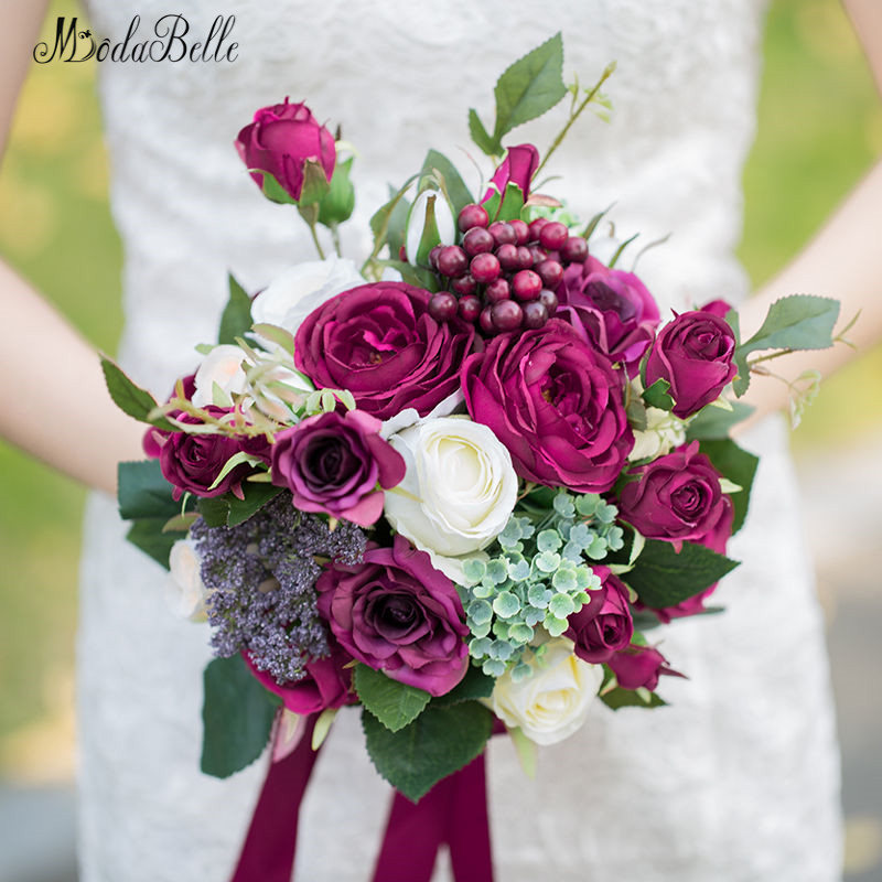 Roses Wedding Flowers: Aliexpress.com : Buy Modabelle Burgundy Roses Berry Bridal