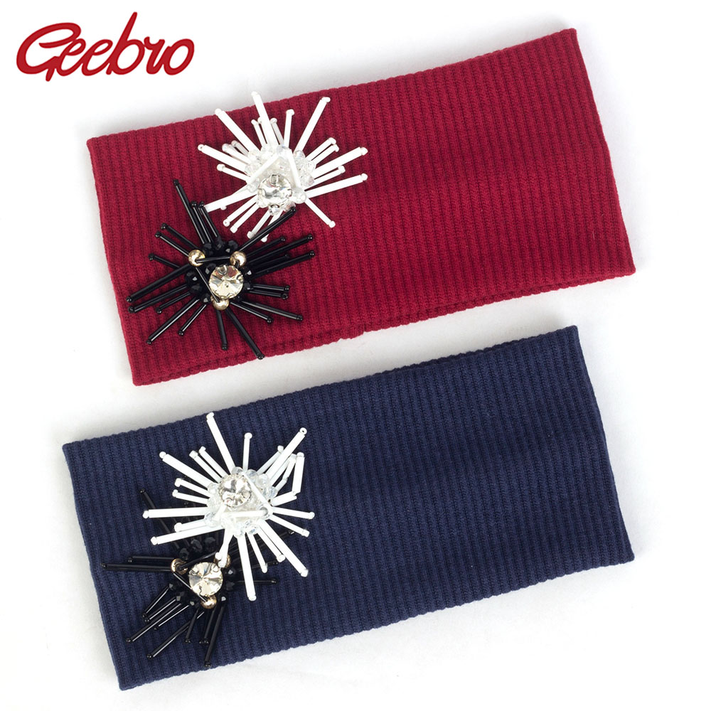 Geebro Crystal Flower Accessories For Girls Women Ribbed Flat Hairband Female Cotton Elastic Headband Turban Headwear Boho AZ004