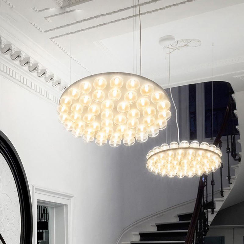 modern creative designer chandelier lamp led chandeliers light lighting round bubble glass 90265v led loft light lamp foyer - Foyer Chandeliers