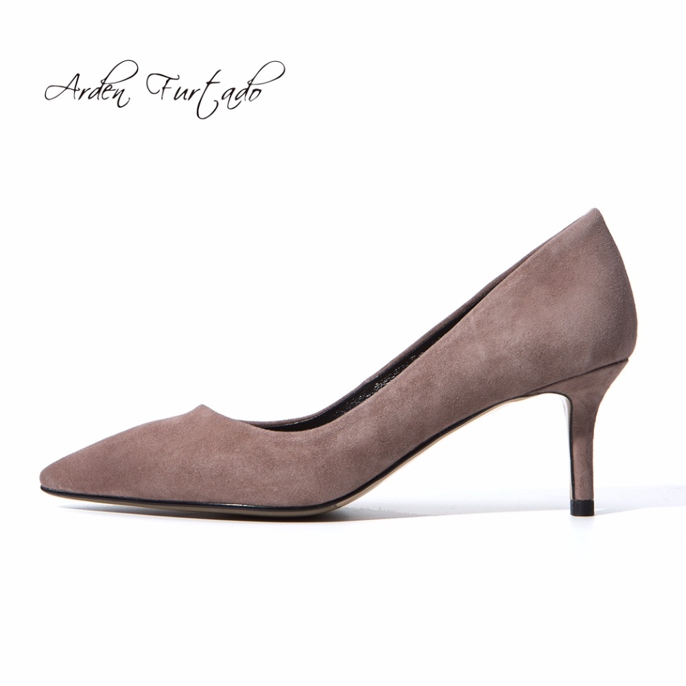 Arden Furtado fashion 2019 spring med heel red grey nude office lady pumps pink dress shoes woman high heels stilettos 33 40 new-in Women's Pumps from Shoes    1