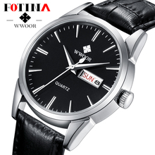 FOTINA Top Brand Men Watch Gold Genuine Leather Male Casual Day Date Clock Quartz Wrist Watch