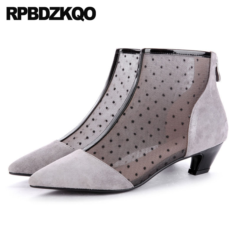 все цены на Suede Sandals Short Grey Booties Sexy Pointed Toe Mesh Women Ankle Boots Medium Heel Chunky Ladies High Quality Polka Dot Shoes