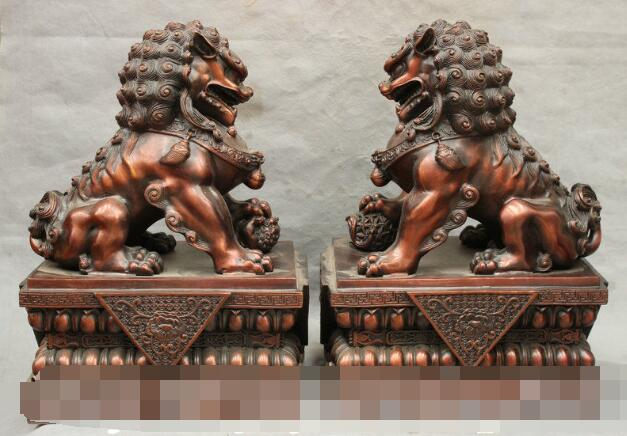 S3752 18 China FengShui Huge Pure Bronze Door Guardion Fu Foo Dog Lion Art Statue Pair
