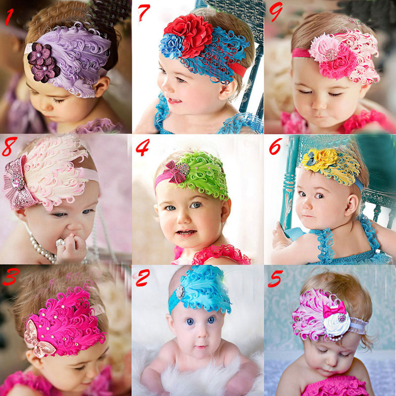 1Pcs New Arrival Headwear Hairband Cute Feather Flower Rhinestone Hair Bow Headbands Hairbands For Girls Kids Hair Accessories women headwear gift rhinestone hair claw butterfly flower hair clip 5 5cm long middle size bow hair accessories for girls