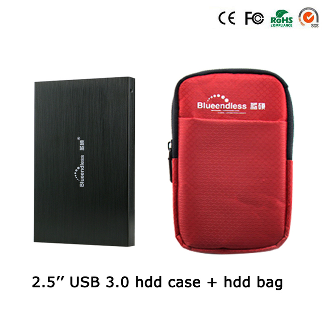 1Set External Hard Drive Accessory(2.5'' HDD Case+ 5'' Hdd Bag)Protect 2.5Inch hdd sata to USB 3.0 hdd Enclosure tool U23YA+25BB