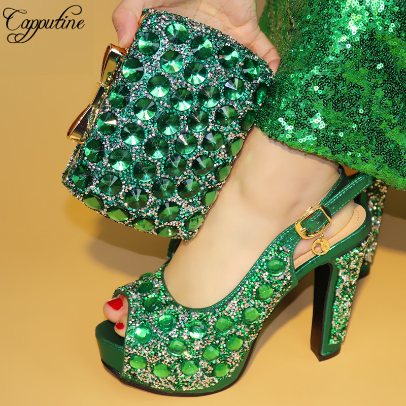 Capputine 2018 New Fashion Women Shoes And Bag Set Italian Decorated With Rhinestone Matching Shoes And Purse Set For Party characteristic floral and butterfly shape lace decorated body jewelry for women