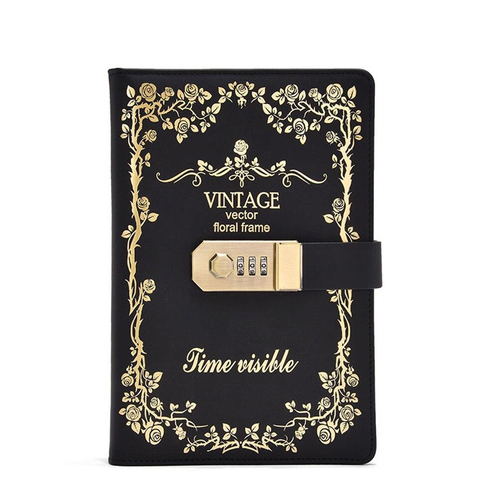 Carnet de mot de passe en cuir dunité centrale de carnet de serrure Vintage de la taille A5 avec le carnet de journal détudiant rechargeable de serrure de combinaison TPN114