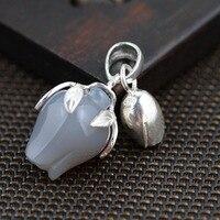 S990 silver natural stone anemone bud Pendant